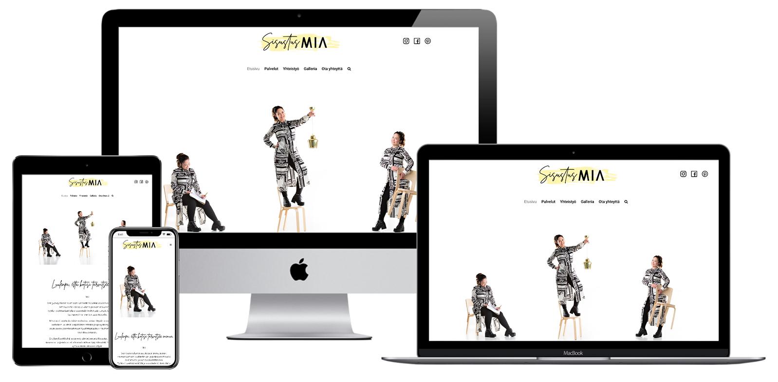 SisustusMia - Verkkosivu kuvattu eri laitteilla