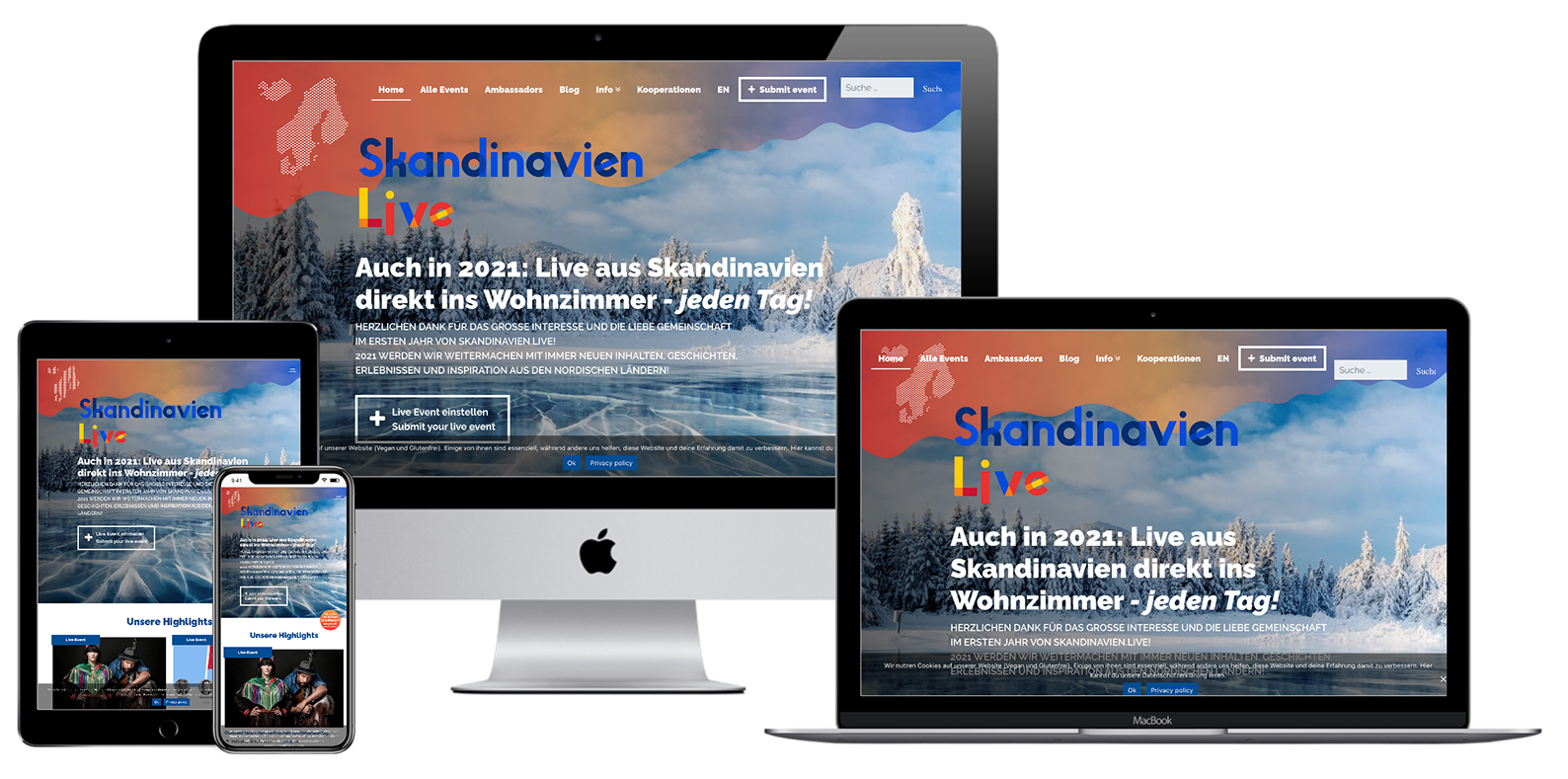 Skandinavien.live - Verkkosivu kuvattu eri laitteilla