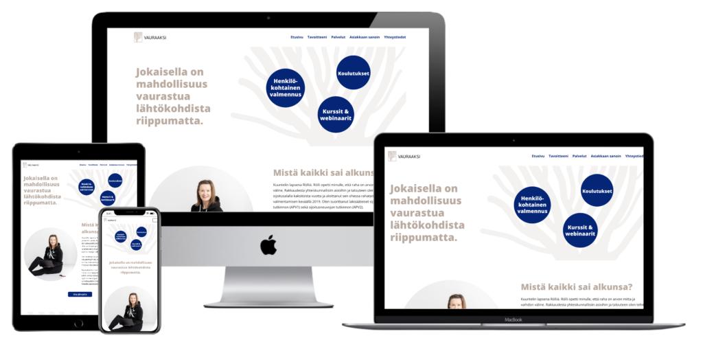 Vauraaksi.fi - Verkkosivu kuvattu eri laitteilla